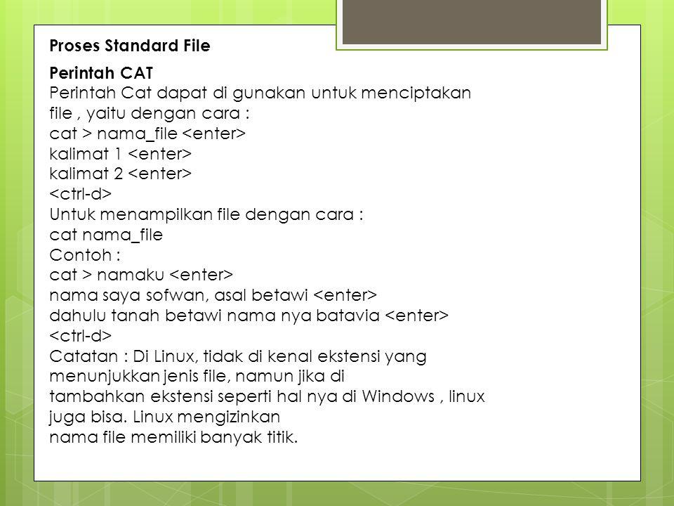 Proses Standard File Perintah CAT. Perintah Cat dapat di gunakan untuk menciptakan file , yaitu dengan cara :