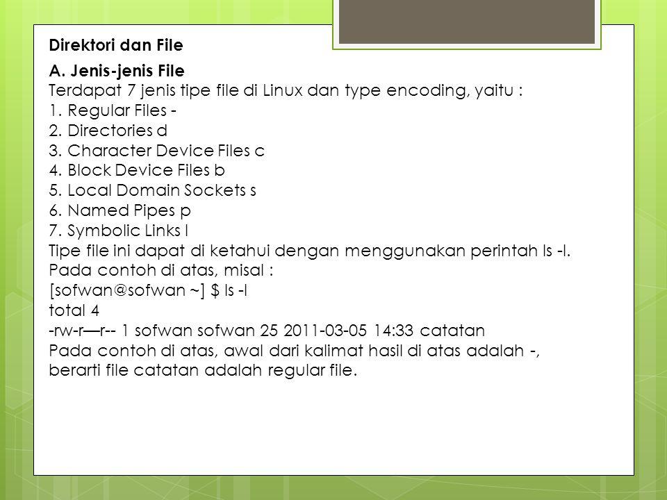 Direktori dan File A. Jenis-jenis File. Terdapat 7 jenis tipe file di Linux dan type encoding, yaitu :