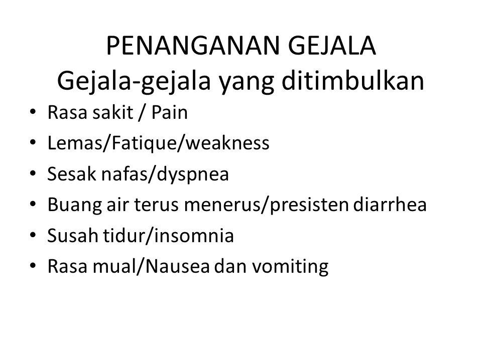 PENANGANAN GEJALA Gejala-gejala yang ditimbulkan