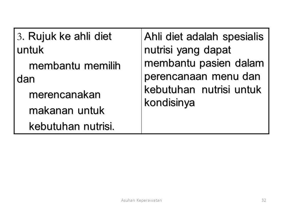 3. Rujuk ke ahli diet untuk membantu memilih dan merencanakan