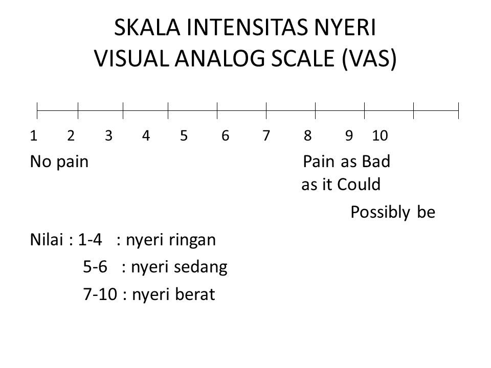 SKALA INTENSITAS NYERI VISUAL ANALOG SCALE (VAS)