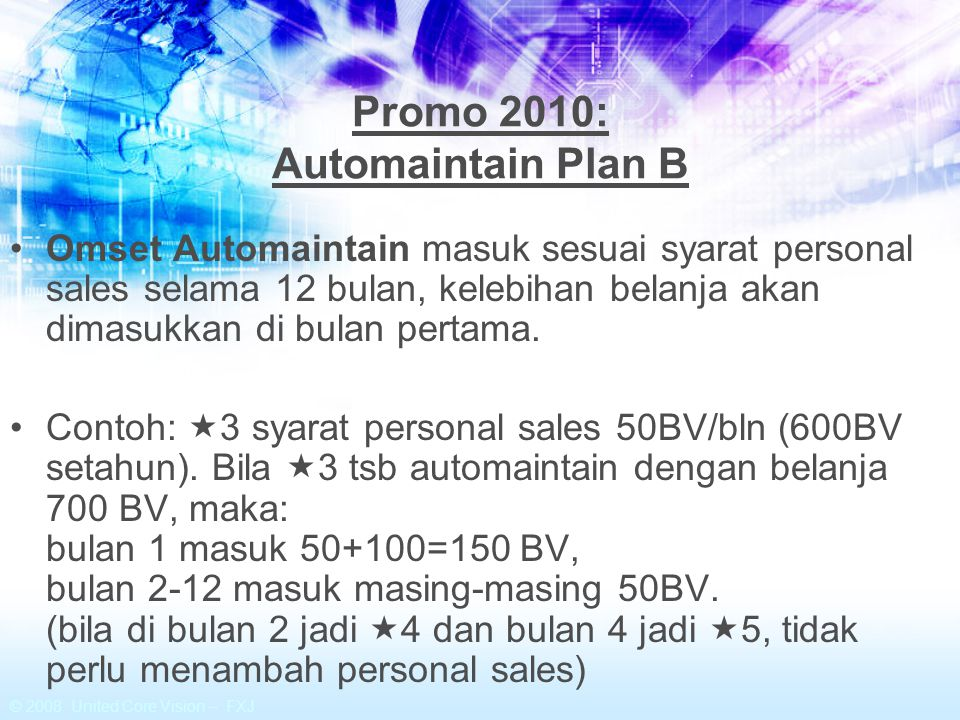 Promo 2010: Automaintain Plan B
