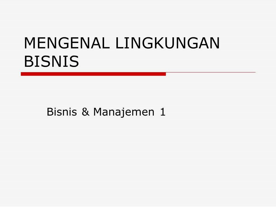 MENGENAL LINGKUNGAN BISNIS