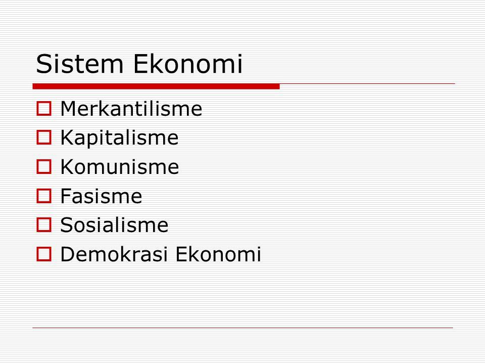 Sistem Ekonomi Merkantilisme Kapitalisme Komunisme Fasisme Sosialisme