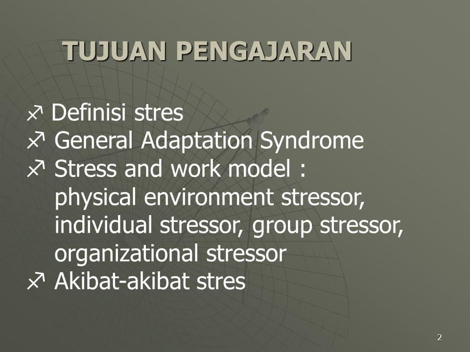 TUJUAN PENGAJARAN General Adaptation Syndrome Stress and work model :