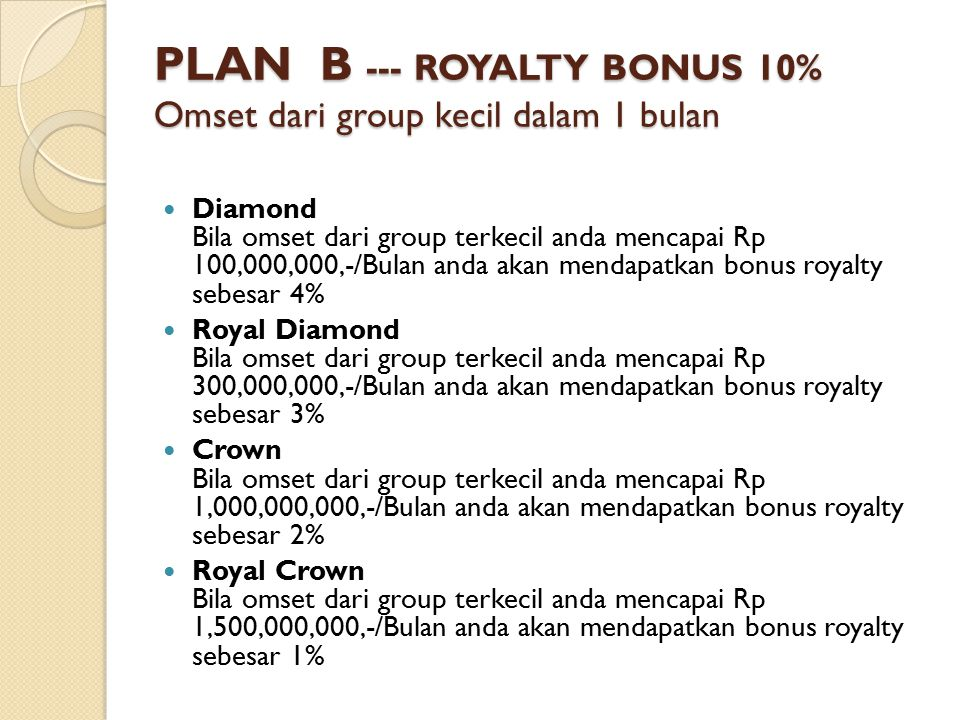 PLAN B --- ROYALTY BONUS 10% Omset dari group kecil dalam 1 bulan