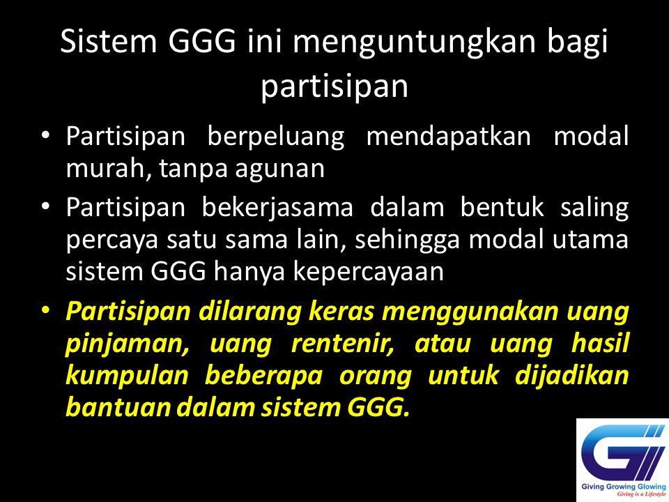 Sistem GGG ini menguntungkan bagi partisipan