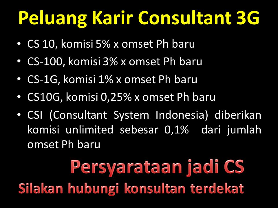 Peluang Karir Consultant 3G