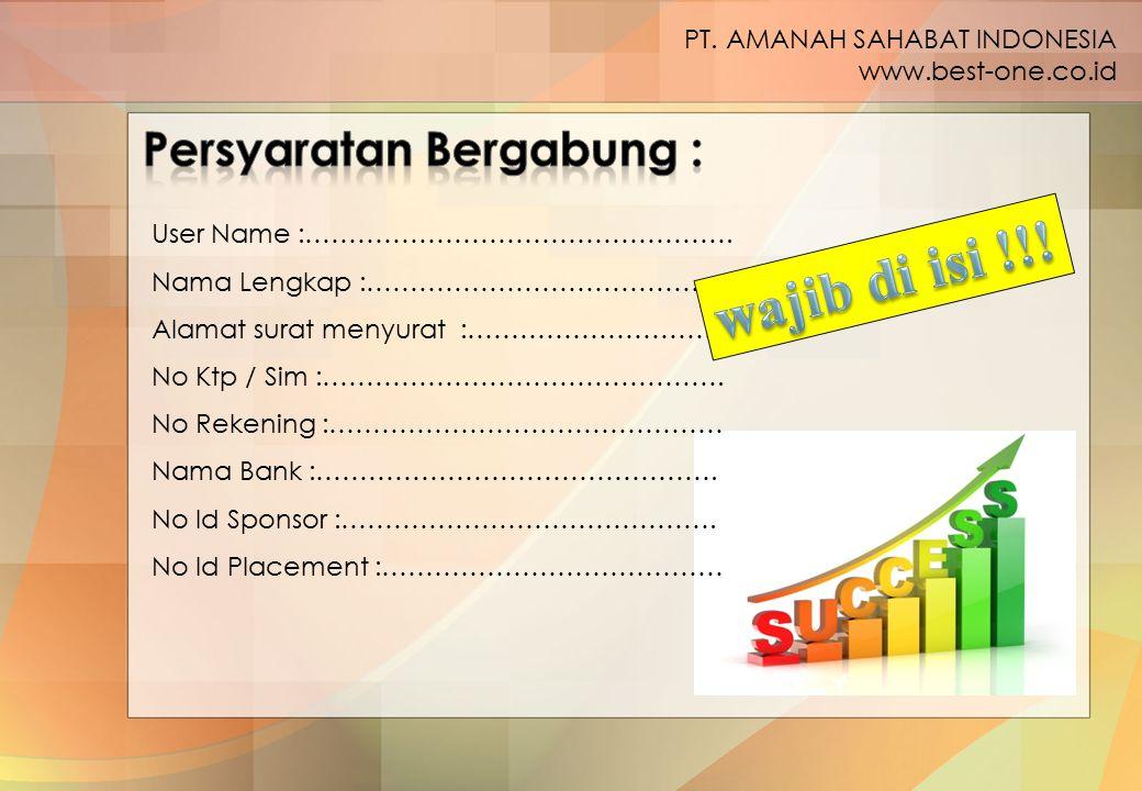 wajib di isi !!! Persyaratan Bergabung : PT. AMANAH SAHABAT INDONESIA