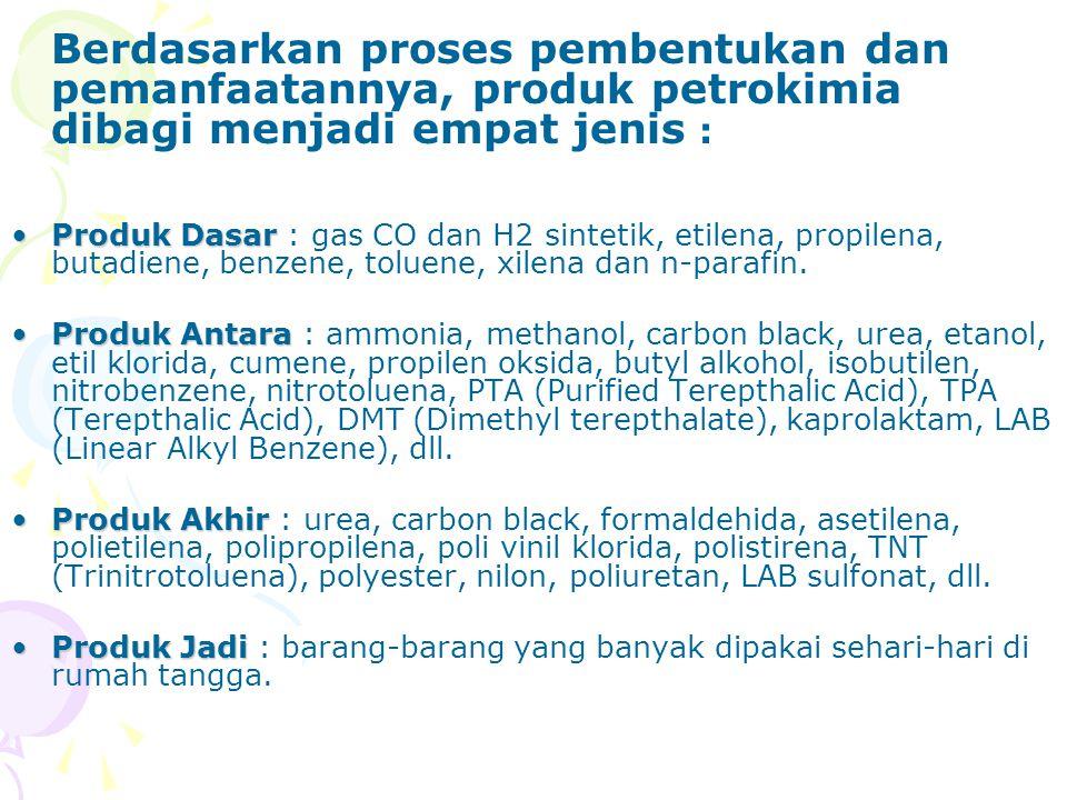 Berdasarkan proses pembentukan dan pemanfaatannya, produk petrokimia dibagi menjadi empat jenis :