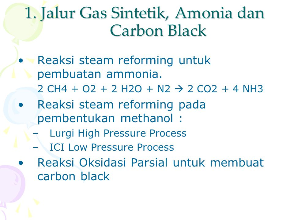 1. Jalur Gas Sintetik, Amonia dan Carbon Black