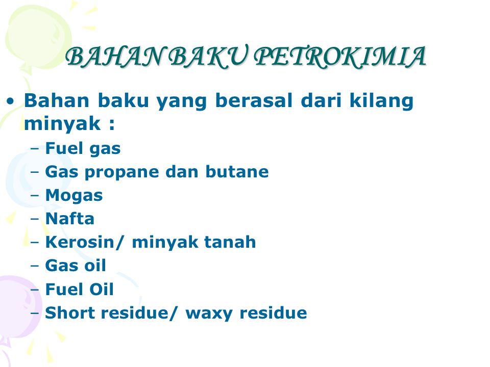 BAHAN BAKU PETROKIMIA Bahan baku yang berasal dari kilang minyak :