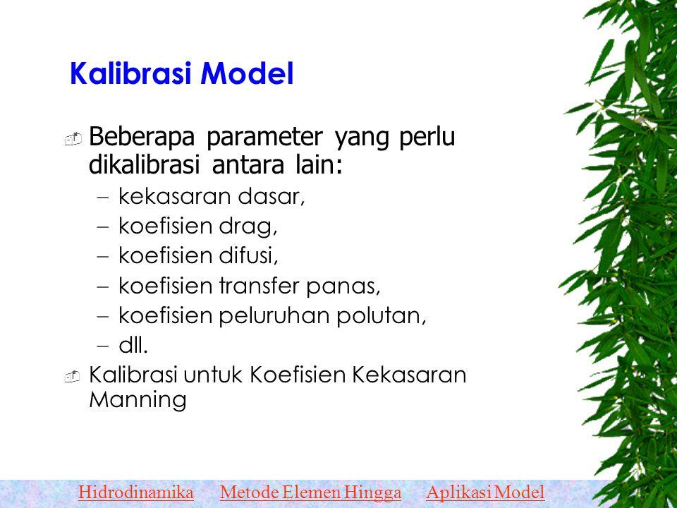 Kalibrasi Model Beberapa parameter yang perlu dikalibrasi antara lain: