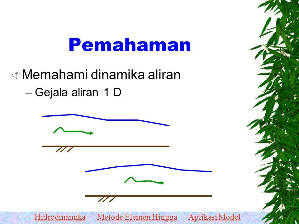 Pemahaman Memahami dinamika aliran Gejala aliran 1 D