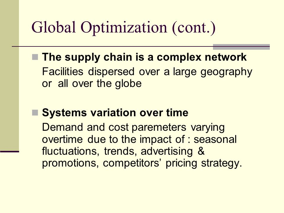 Global Optimization (cont.)