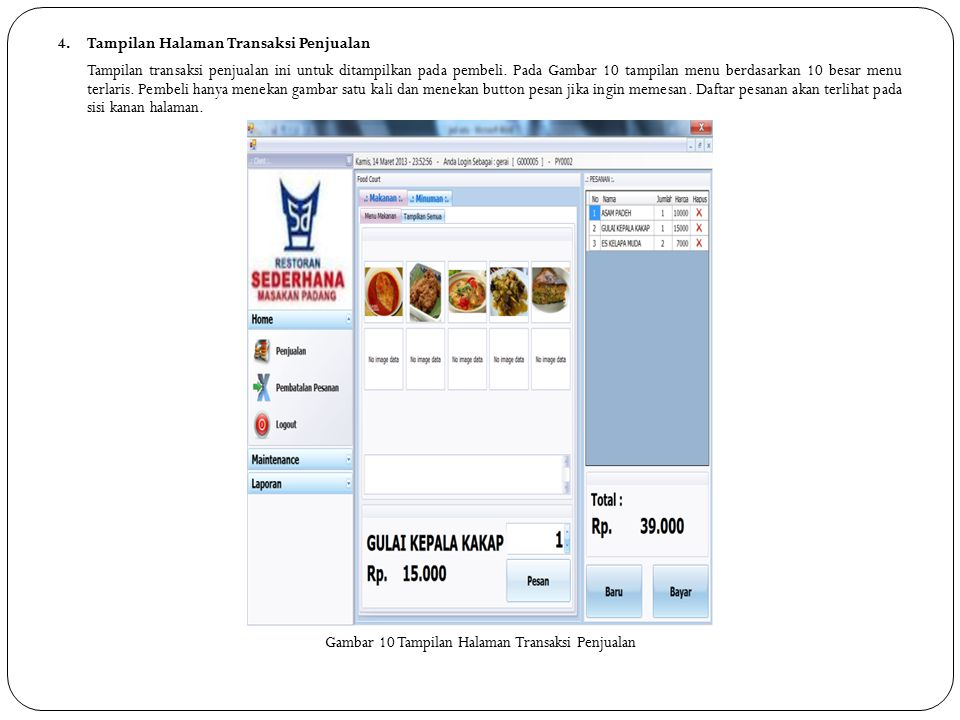 Gambar 10 Tampilan Halaman Transaksi Penjualan