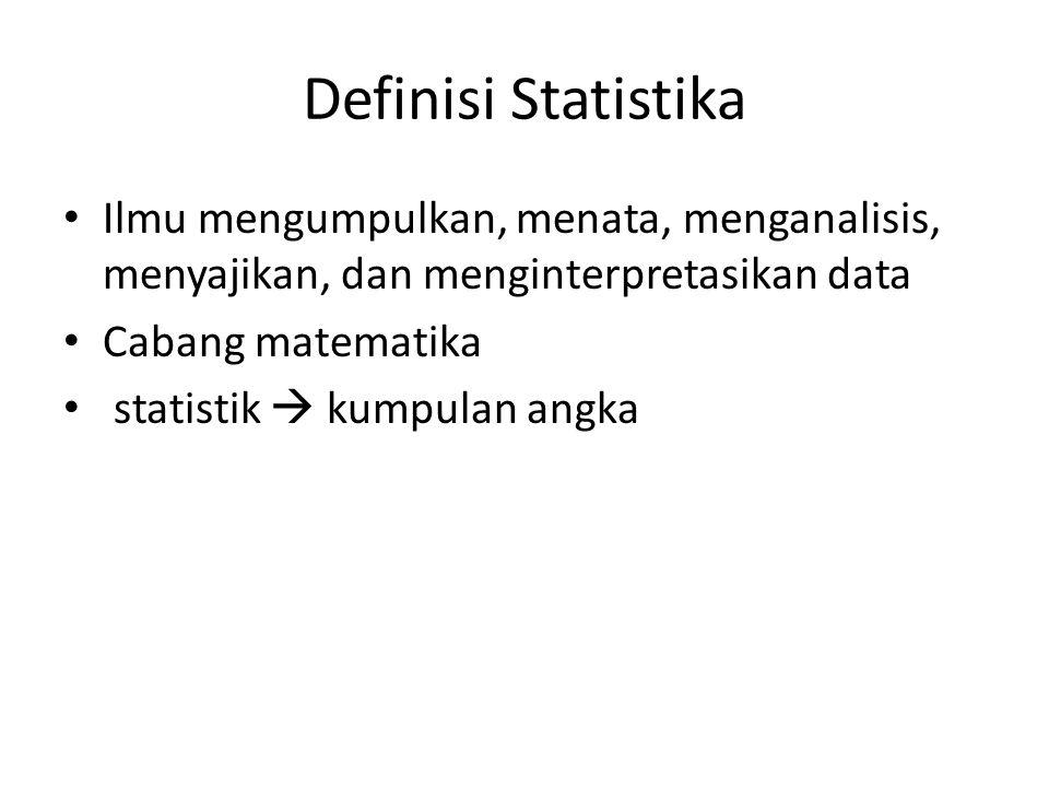 Definisi Statistika Ilmu mengumpulkan, menata, menganalisis, menyajikan, dan menginterpretasikan data.