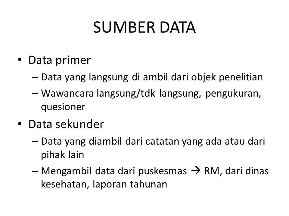 SUMBER DATA Data primer Data sekunder
