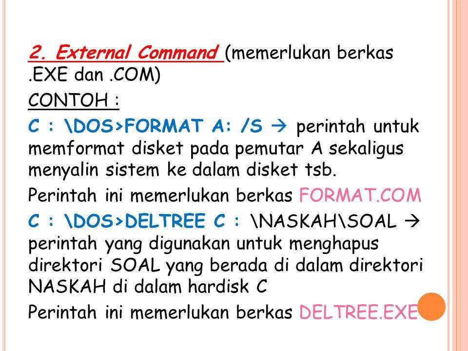 2. External Command (memerlukan berkas. EXE dan
