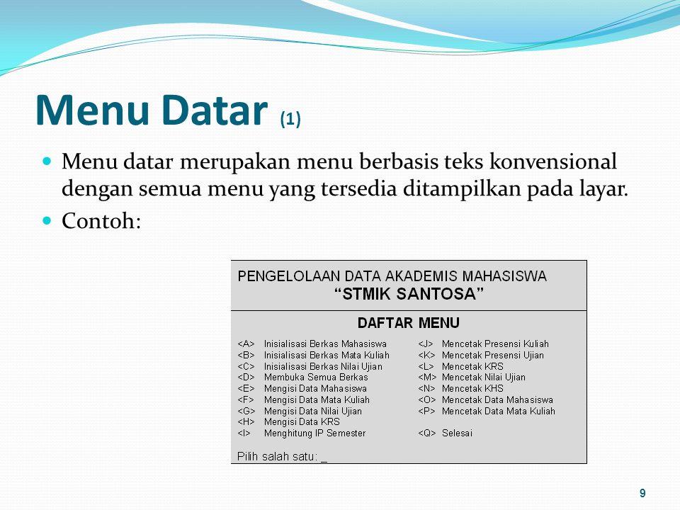 Menu Datar (1) Menu datar merupakan menu berbasis teks konvensional dengan semua menu yang tersedia ditampilkan pada layar.