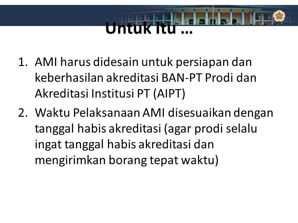 Untuk Itu … AMI harus didesain untuk persiapan dan keberhasilan akreditasi BAN-PT Prodi dan Akreditasi Institusi PT (AIPT)