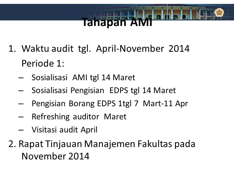 Tahapan AMI Waktu audit tgl. April-November 2014 Periode 1:
