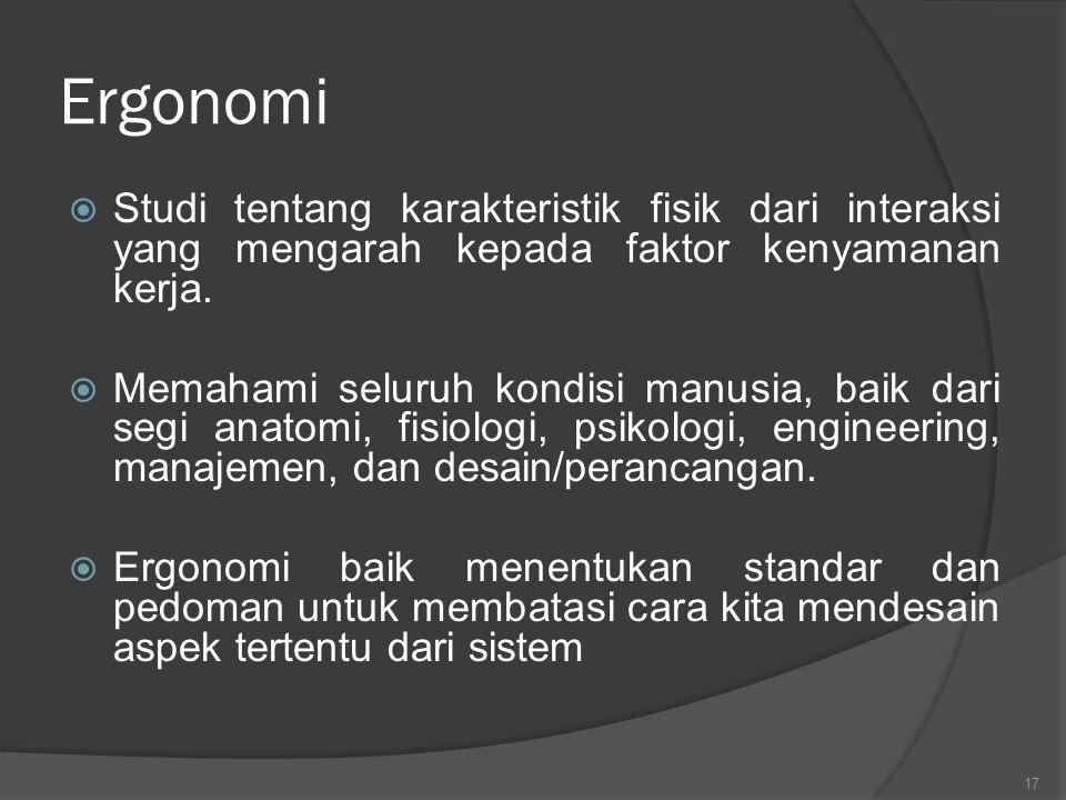Ergonomi Studi tentang karakteristik fisik dari interaksi yang mengarah kepada faktor kenyamanan kerja.