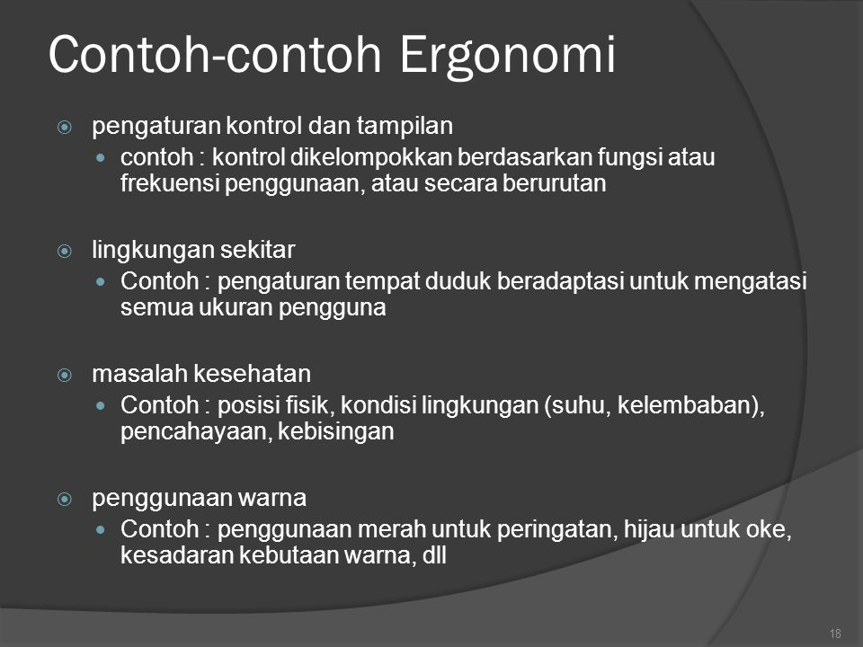 Contoh-contoh Ergonomi