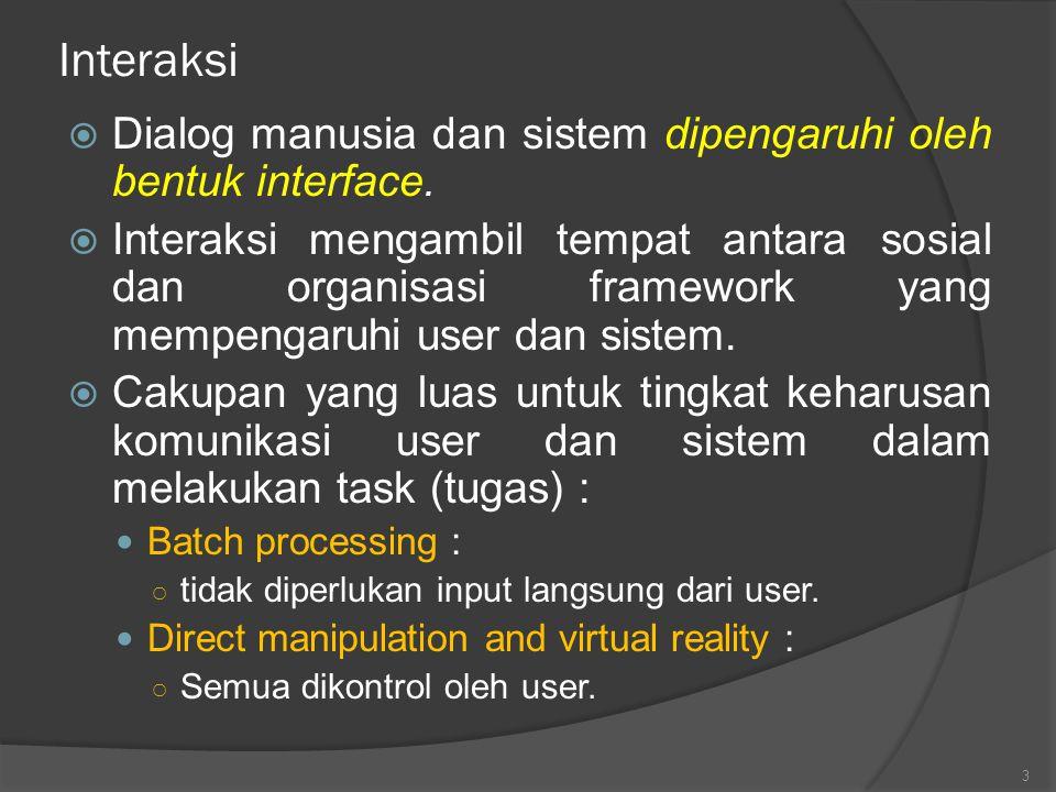 Interaksi Dialog manusia dan sistem dipengaruhi oleh bentuk interface.