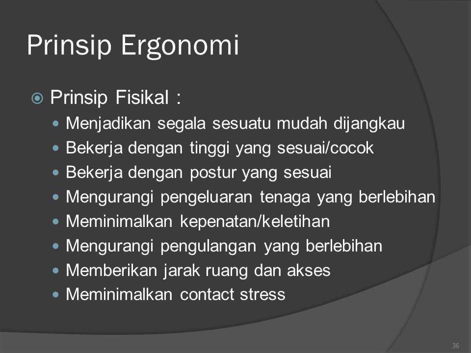 Prinsip Ergonomi Prinsip Fisikal :