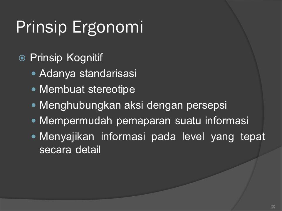 Prinsip Ergonomi Prinsip Kognitif Adanya standarisasi