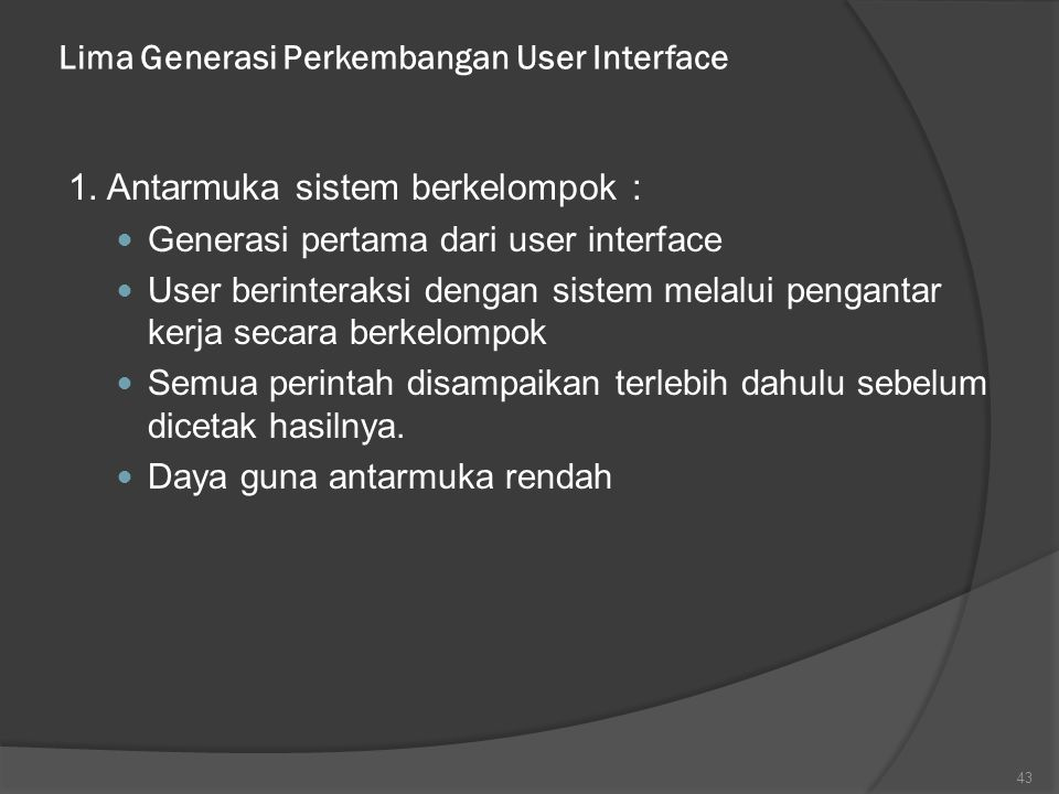 Lima Generasi Perkembangan User Interface