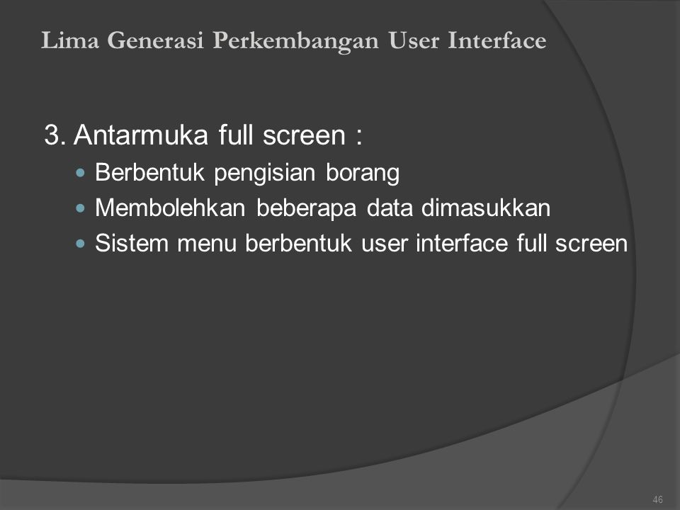 3. Antarmuka full screen :