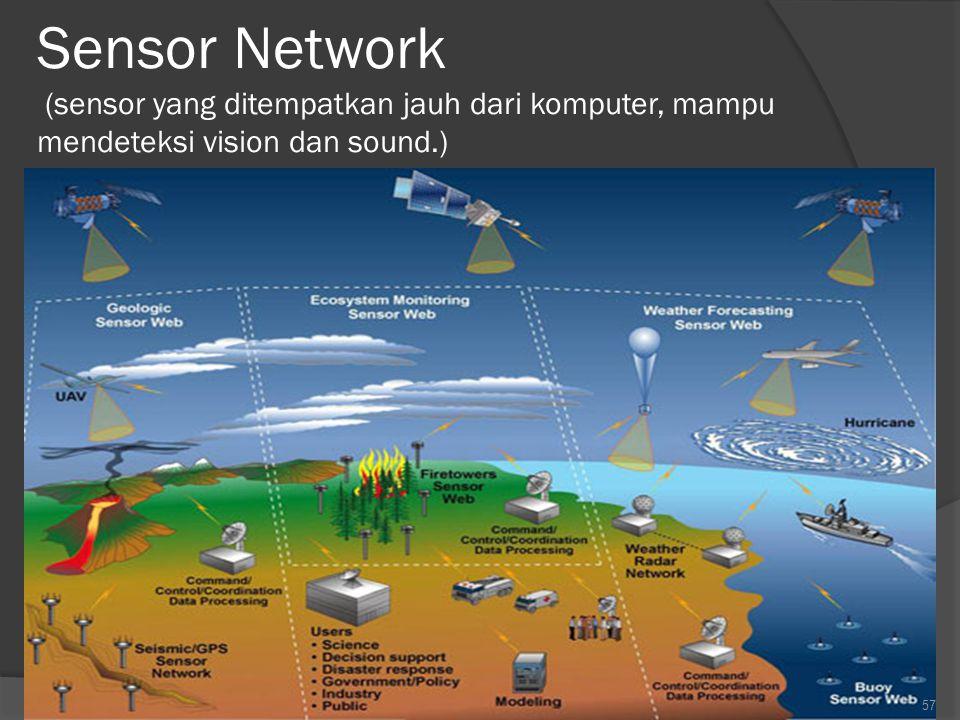 Sensor Network (sensor yang ditempatkan jauh dari komputer, mampu mendeteksi vision dan sound.)