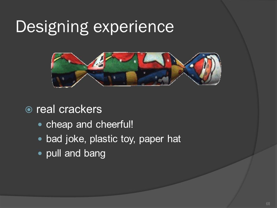 Designing experience real crackers cheap and cheerful!