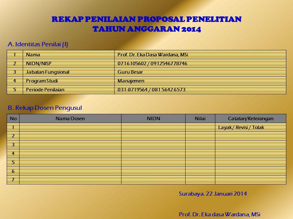 REKAP PENILAIAN PROPOSAL PENELITIAN