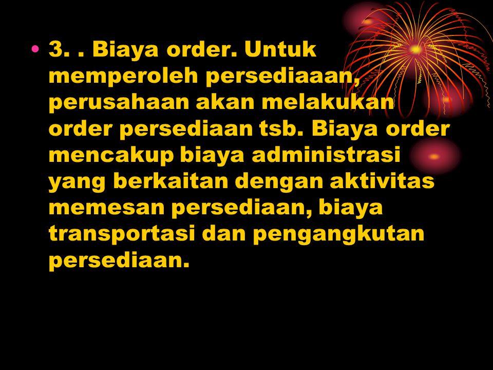 3. Biaya order. Untuk memperoleh persediaaan, perusahaan akan melakukan order persediaan tsb.