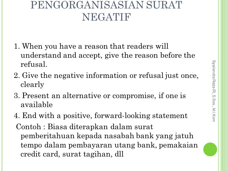 Pengorganisasian Surat Negatif