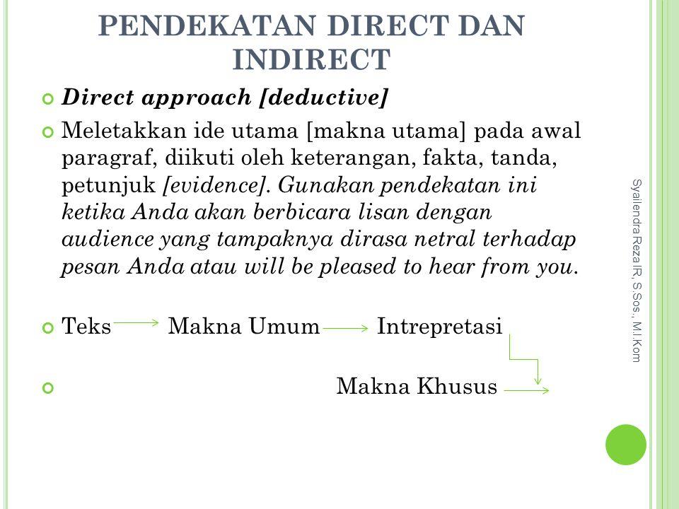 Pendekatan Direct dan Indirect