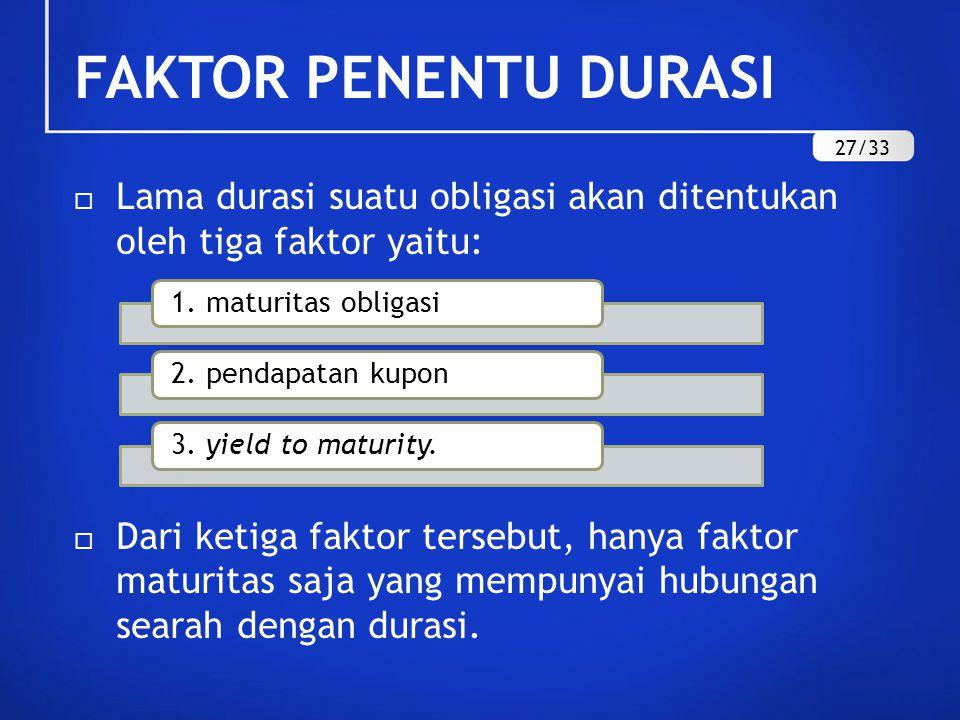 FAKTOR PENENTU DURASI 27/33. Lama durasi suatu obligasi akan ditentukan oleh tiga faktor yaitu: