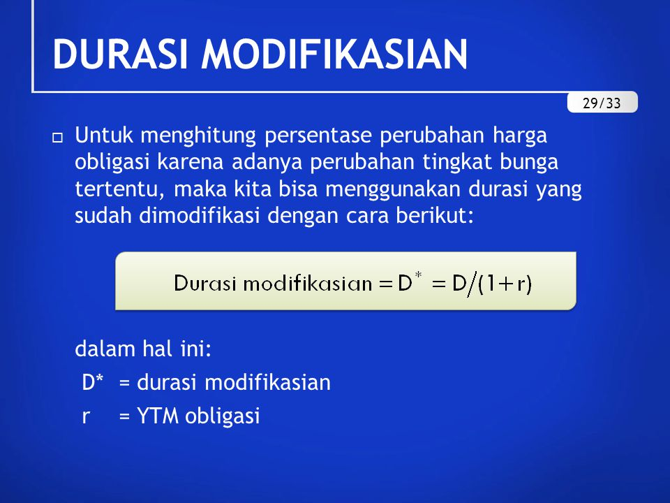 DURASI MODIFIKASIAN 29/33.
