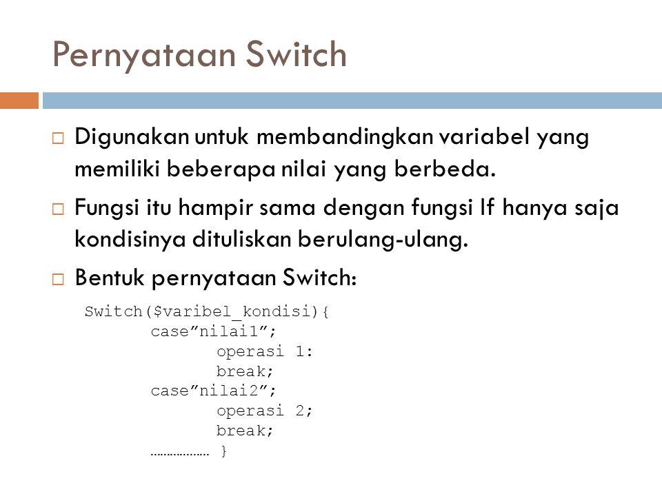 Pernyataan Switch Digunakan untuk membandingkan variabel yang memiliki beberapa nilai yang berbeda.