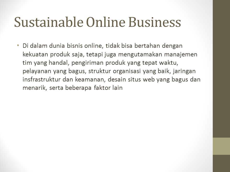 Sustainable Online Business