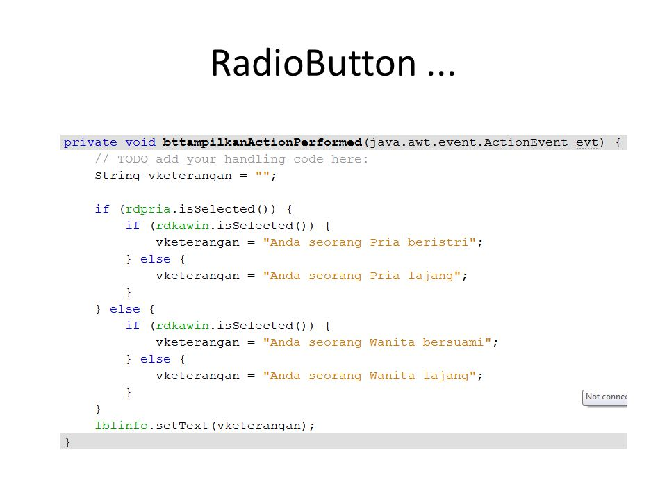 RadioButton ...