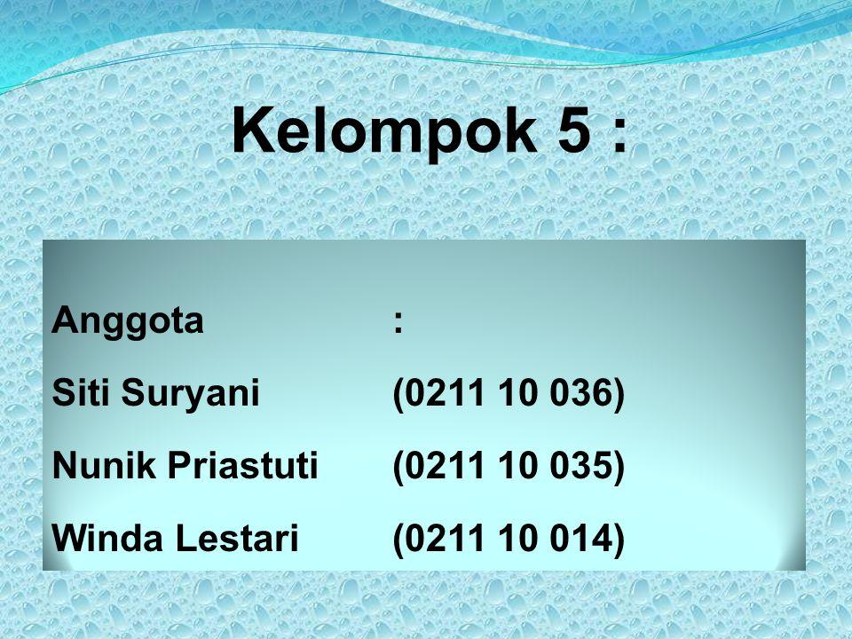 Kelompok 5 : Anggota : Siti Suryani (0211 10 036) Nunik Priastuti (0211 10 035) Winda Lestari (0211 10 014)