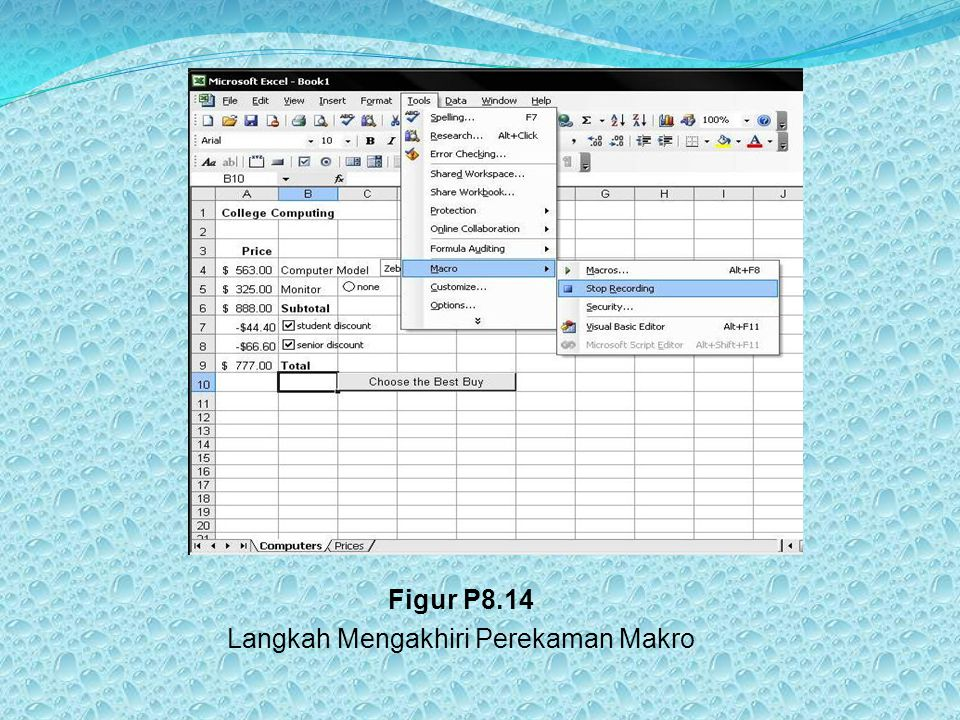 Figur P8.14 Langkah Mengakhiri Perekaman Makro
