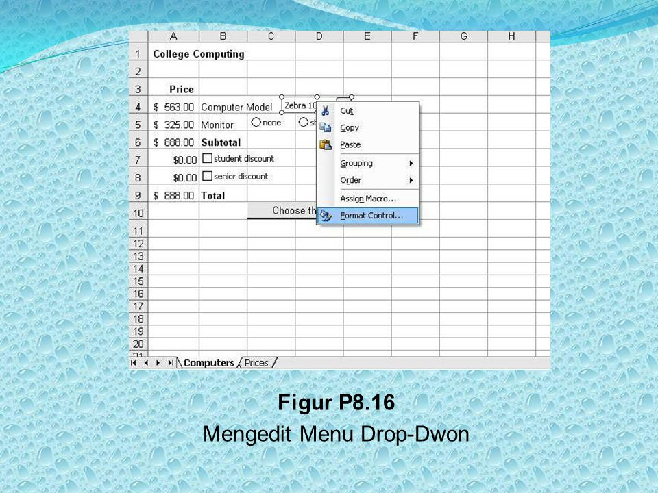 Figur P8.16 Mengedit Menu Drop-Dwon