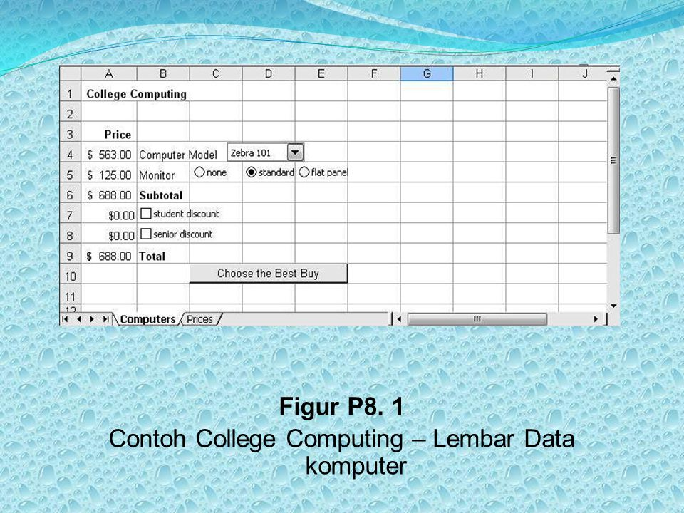 Figur P8. 1 Contoh College Computing – Lembar Data komputer