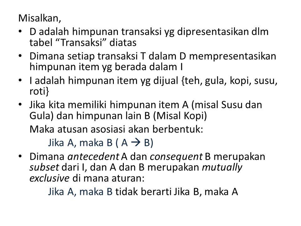 Misalkan, D adalah himpunan transaksi yg dipresentasikan dlm tabel Transaksi diatas.