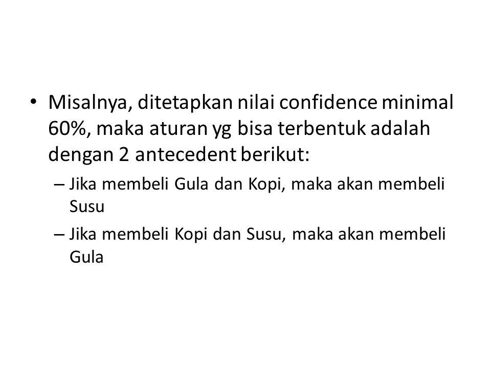Misalnya, ditetapkan nilai confidence minimal 60%, maka aturan yg bisa terbentuk adalah dengan 2 antecedent berikut: